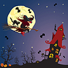 Halloween night: witch and black cat flying on broo