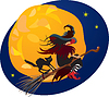 Vector clipart: Halloween night: witch and black cat flying on broo