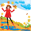 Vector clipart: Pretty girl dressing coat and rubber boots walking