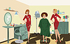 Beauty salon client two salon workers in red uniforms | 光栅插图