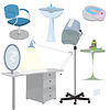 Beauty salon furniture icon set | 光栅插图