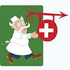 Векторный клипарт: Доктор работает рядом с медицинским знак