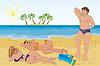 Векторный клипарт: Человек познакомился с двумя девушками загорать на пляже