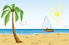 Векторный клипарт: Пальма на пляже песка и битой плавания в океане