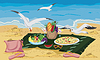 Vector clipart: Seagulls are trying to steal food left on beach