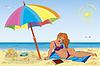 Sexy girl am Strand unter bunten Regenschirm