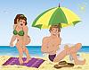 로션 웃는 남자와 여자 | Stock Vector Graphics
