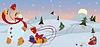 Векторный клипарт: Снежный человек в красной косынке баннер