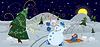 Векторный клипарт: Снежный человек делает фейерверк баннер