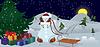 Векторный клипарт: Снеговик и птиц под знаменем елку