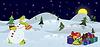 Векторный клипарт: Снеговик и елка в горшке баннер