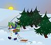 Векторный клипарт: Снежный человек идет по лесу