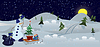 Vector clipart: Snowman with bag and sleds banner