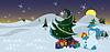 Schneemann mit Geschenken in der Nähe von Weihnachtsbaum-Banner