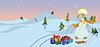Векторный клипарт: Снеговик с саней в motning
