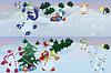 Векторный клипарт: Снеговики, живущих в волшебный лес утром