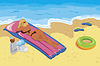 Векторный клипарт: Молодая женщина загорали на пляже