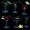 Vector clipart: Neon-Cocktail-icon-set