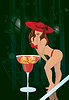 Vector clipart: sexy girl and cocktail