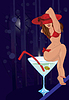 Vector clipart: sexy girl sitting on a cocktail