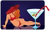 Векторный клипарт: Молодая женщина в красной шляпе лежит рядом гигантский коктейль