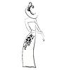 Векторный клипарт: Шикарный дама в перчатках и шляпе черно-белый
