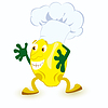 Lemon cartoon character in chef hat