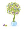 Векторный клипарт: Дерево с птицами