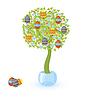 Векторный клипарт: Дерево с пасхальными яйцами