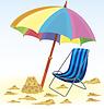 Векторный клипарт: Пляжные зонтики стул замок из песка