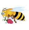 Векторный клипарт: Пчелы с розовым цветком