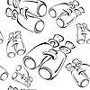 Vector clipart: Black and white contour binoculars seamless