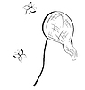 Векторный клипарт: Черно-белый контур сачок