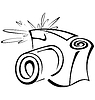 Vector clipart: Black and white contour photo camera