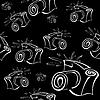 Векторный клипарт: Черно-белый контур фотоаппарат бесшовные