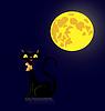 Векторный клипарт: Черная кошка в полнолуние