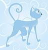 Векторный клипарт: Синий кот на фоне спиральной