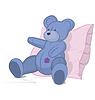 Векторный клипарт: Синий мишка на розовой подушке