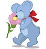 Векторный клипарт: Синий Мишка с цветком