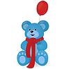 Векторный клипарт: Синий мишка с красным шар