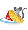 Векторный клипарт: Мультяшный мышь с сыром