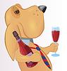Векторный клипарт: Собака с напитком