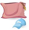 Векторный клипарт: Розовый и синий мешок шляпе