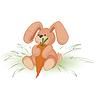 Векторный клипарт: Кролик с морковкой