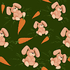 Rabbit with carrot - seamless green pattern