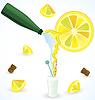 Векторный клипарт: Газированная вода смешивания со свежим лимонным соком