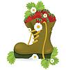 Векторный клипарт: Клубника старой обуви и цветов ромашки
