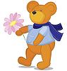 Векторный клипарт: Мишка с цветком в синий шарф