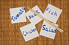 Photo 300 DPI: Set of post it notes with common phrases food