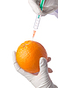 Science experiment with orange and syringe | Stock Foto
